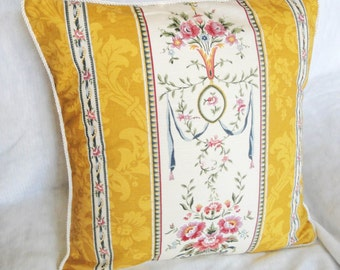 "Gold damask pillow cover, yellow cushion, custom elegant floral pillow slip with piping, mustard damask, 12x16"", 14"", 16 inches, 18"", 20"""