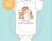Girls Valentine's Day Personalized Mommy's Little Sweetheart Giraffe Shirt or Onesie (02272013b1)