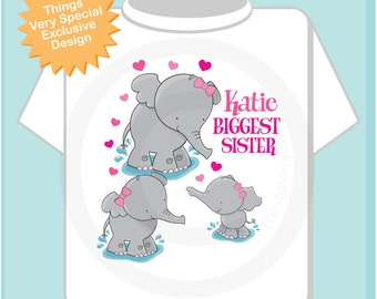 Elephant Biggest Sister Shirt, Biggest Sister Elephant Tee Shirt or Big Sister Onesie Pregnancy Announcement (12192013c1)
