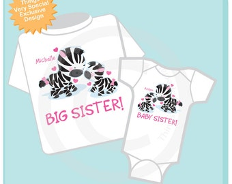 Set of Two Big Sister and Baby Sister Zebra Shirt or Onesie, Personalized Tshirt and Onesie with Cute Zebras (01312014g)