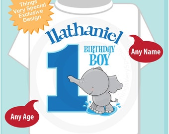 Personalized FIrst Birthday Elephant Tee Shirt or Onesie, 1st Birthday Elephant tee, Safari Theme, Any Age (03182012e)