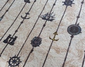 Nautical and Map Themed Cotton Linen Fabric (Fat Quarter)