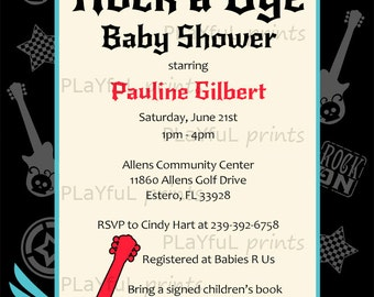 Rock a Bye Baby / Rock Star / Born to Rock Baby Shower Invitation