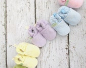 Classic Vegan So Soft Pastels Cotton Velour All Fabric Baby Shoes / Made to Order / Easter Basket Shower Gift