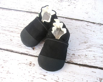 Organic Vegan Black Hemp Blend / Non-Slip Soft Sole Baby Shoes / Made to Order / Babies Toddlers