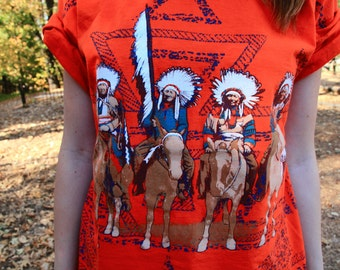 This AMERICAN LIFE - Jerzees Tee Shirt 1980s Native American Tribal Novelty Print Slouchy Oversized Cropped Fit Combed Cotton XL