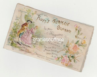 1890 Victorian Trade Card Hoyt's German Cologne Cottage Roses Courting Couple #885