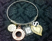 Hand Stamped Jewelry Personalized Charm bracelet sterling silver bangle charm bracelet