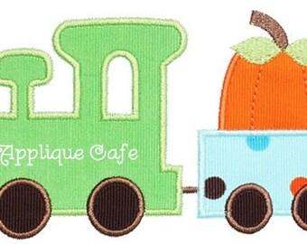 356 Pumpkin Train Machine Embroidery Applique Design