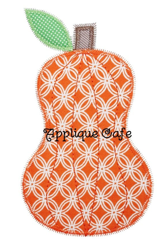 Zig zag pumpkin machine embroidery applique design