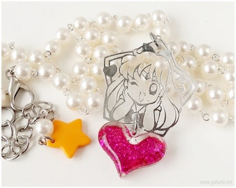 Sailor Venus Necklace, Beaded Rosary Chain, Beige Pearls, Silver - Sailor Moon, Kawaii Jewelry
