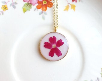 Verbena Necklace Red Pressed Flowers Botanical Bridal Jewelry Naturalist Plant Nature Inspired Resin Garden Wedding Cream Ivory