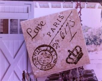 Love Crown Paris Stamped Tile Magnet