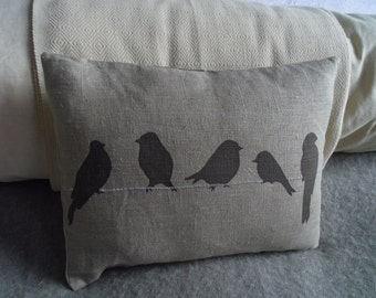 hand screen printed bird on a wire cushion
