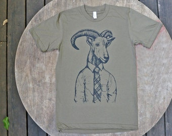 Barbary Sheep gone Corporate / Hipster Tee Shirt / Animal T-Shirt / Hand Drawn Design on American Apparel Army Green Tee for Men / Unisex