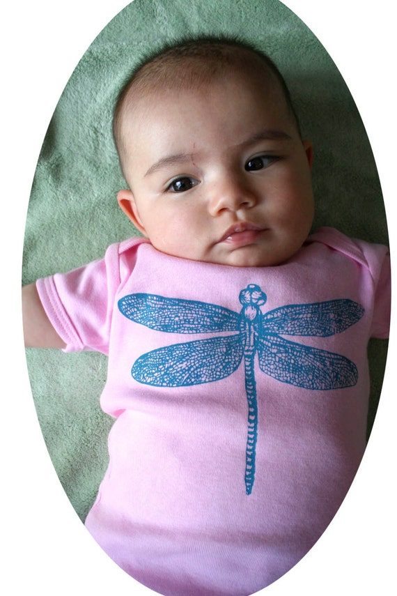 Dragonfly Baby Onesie Pink with Teal design New Baby