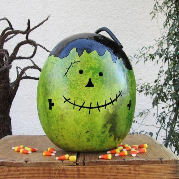 Natural Halloween Decorations: Halloween Gourd Frankenstein Natural Fall Harvest Spooky