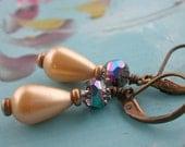 Teardrop Pearl Earrings with Mercurial Crystal