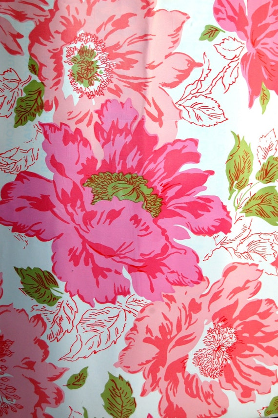 Vintage Shelf Liner Contact Paper Floral Pink By Sacklunchtime