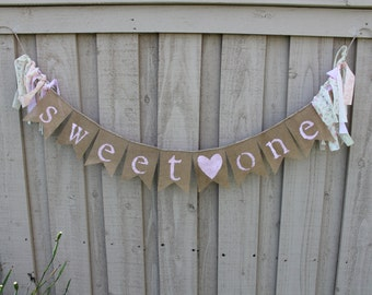 Pink shabby chic sweet one burlap banner
