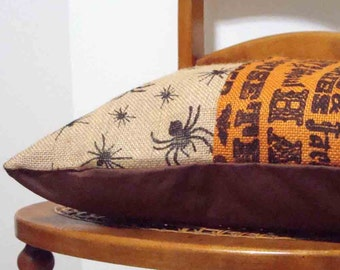 Burlap Halloween Decorative Pillow - 16 x 16 inches - with fiber fill