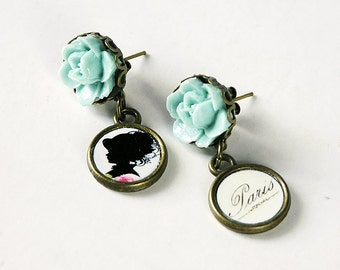 For woman, Earrings, Post Dangling Earrings, Silhouette, Retro Jewelry, Paris, Ready to Ship