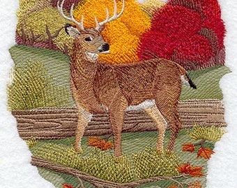 WHITETAIL DEER In AUTUMN - Machine Embroidery Quilt Blocks (AzEB)