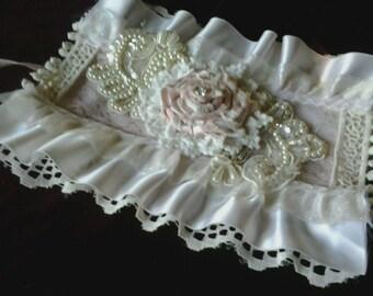 Cuff Bracelet/Fabric Pink OOAK Romantic Victorian~SALE~