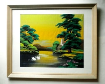 Vintage Japanese Silk Painting Lovely Swans on the Water in Old Frame