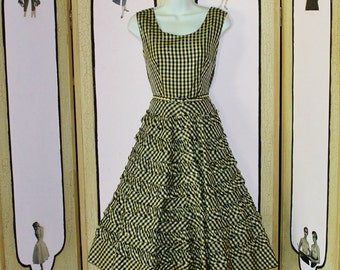 Vintage 1950's Ruffled Gingham Party Dress with Rhinestone Bodice and Original Belt by Carole King. Small.
