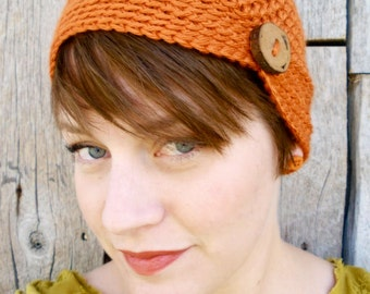 Women's Crochet Flapper Hat with Button - Crochet Cancer Hat - Crochet Beanie - Vintage Style - Pumpkin Orange - Wood Button