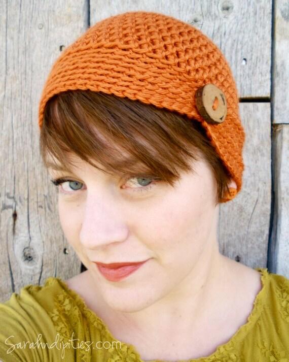 Crochet Button Beanie - Vintage Style - Pumpkin Orange