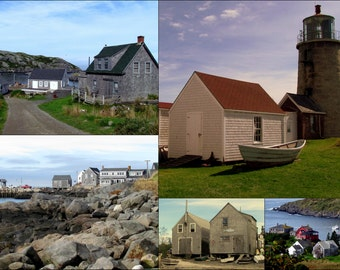 Monhegan Lighthouse and Village digital photo collage