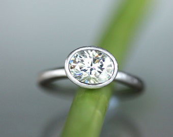 Forever Brilliant Moissanite Engagement Ring,  Recycled 14K Palladium White Gold Ring, Stacking Ring - Made To Order