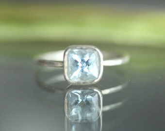 Aquamarine Sterling Silver Ring, Gemstone RIng, Cushion Ring, No Nickel / Nickel Free - Made To Order