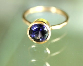 Genuine Iolite 14K Gold Engagement Ring, Gemstone Ring, Stacking Ring, Protuguese Cut, Water Sapphire, Birthstone - Made to Order