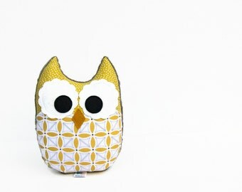 Citron Yellow Gray Geometric Plush Owl Stuffed Animal Baby Toy