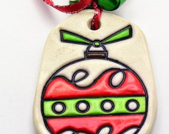 Sale / On Sale / Clearance / Marked Down / Red Christmas Ball Polymer Clay Ornament with Red Ribbon - OR00005