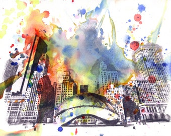 Chicago Bean Cityscape Skyline Landscape Art Print From Original Watercolor Painting 13 x 19 in Art Print