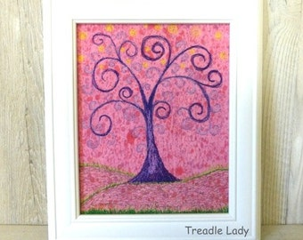 Whimsy Tree Free Motion Embroidery Thread Painting Pink Hand Painted Fabric Purple Tree Drawn On Sewing Machine
