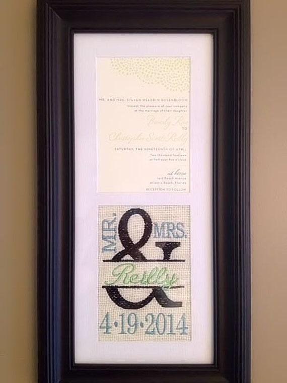 Custom monogrammed framed wedding invitation keepsake like this item stopboris Choice Image