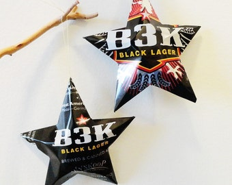 B3K Black Lager - Wynkoop Brewing Company, Stars, Beer Can, Handmade Christmas Ornaments, Black