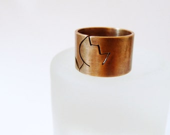 Tulip ring, rustic copper ring, wide band ring, metalwork jewelry, statement ring minimalist ring