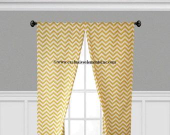 Yellow Curtains Zig Zag Chevron Curtain Panels Living Room Kitchen Drapery Window Treatments Set Pair Drapes