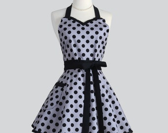 Sweetheart Retro Apron / Grey with Black Dots from Riley Blake Designs in our Popular Womens Sweetheart Retro Apron Perfect Wedding Gift