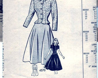 Vintage 1948 Anne Adams 4570 Mail Order Sewing Pattern Junior's Two-Piece Dress Size 13 Bust 31