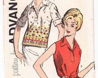 Vintage 1962 Advance 9814 UNCUT Sewing Pattern Misses' Overblouse Size 12 Bust 32