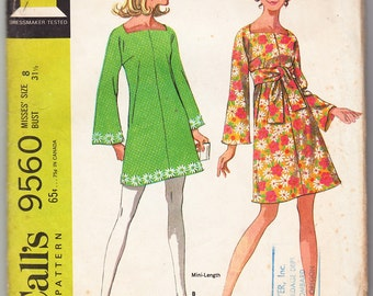 Vintage 1968 McCall's 9560 Sewing Pattern Misses' Dress in Two Versions Size 8 Bust 31-1/2