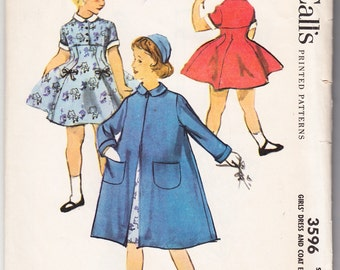 Vintage 1956 McCall's 3596 UNCUT Sewing Pattern Girl's Dress and Coat Ensemble Size 8