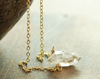 Herkimer Diamond Necklace April Birthstone, 14k Gold Fill Modern Minimal Jewelry